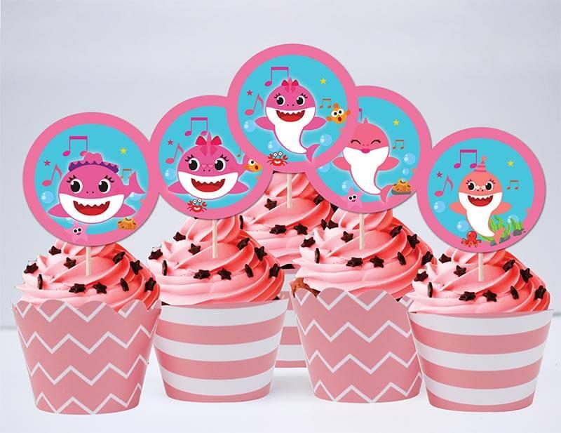 Tem bánh cupcake Baby Shark Gái màu hồng hoàng gia