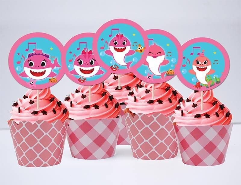 Set bánh cupcake baby shark girl màu hồng lưới