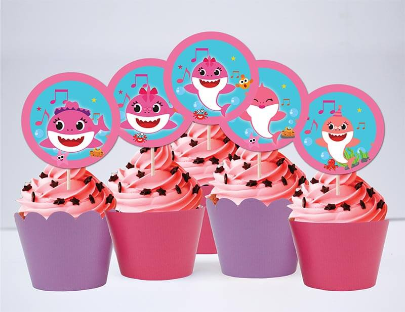 Tem bánh cupcake Baby Shark Gái màu hồng tím