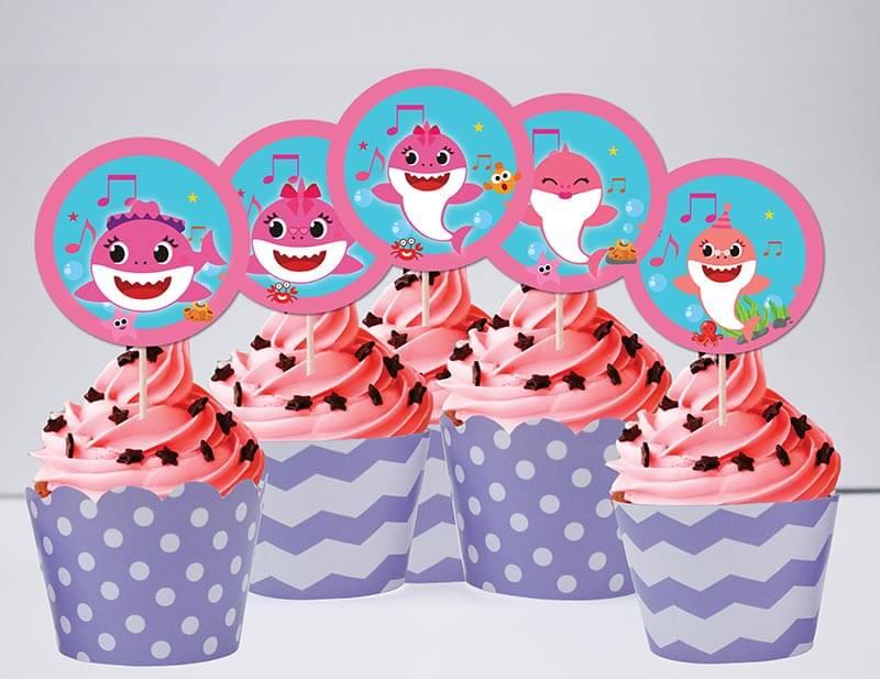 Tem bánh cupcake Baby Shark Gái màu tím chấm bi