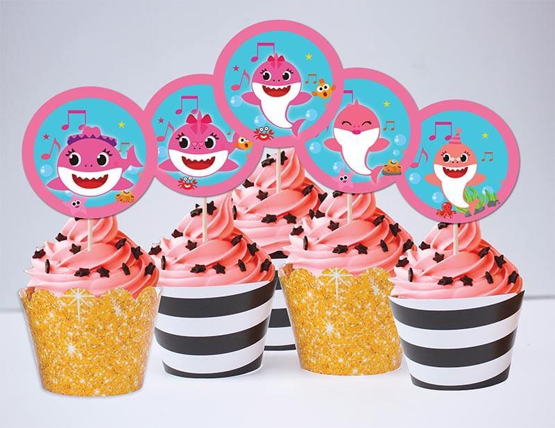 Tem bánh cupcake Baby Shark Gái màu vàng đen kim tuyến