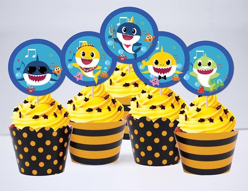 Tem bánh cupcake Baby Shark Trai màu vàng đen