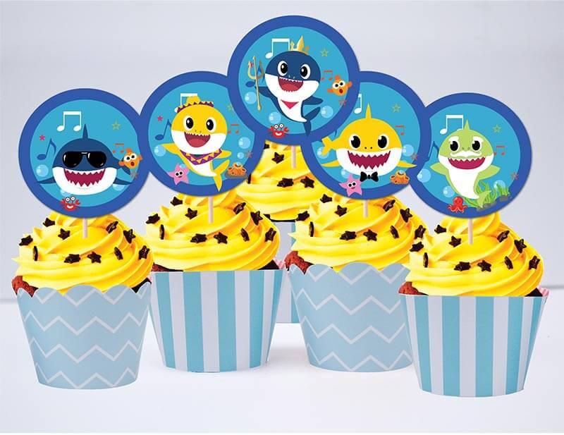 Tem bánh cupcake Baby Shark Trai màu xanh dương nhạt