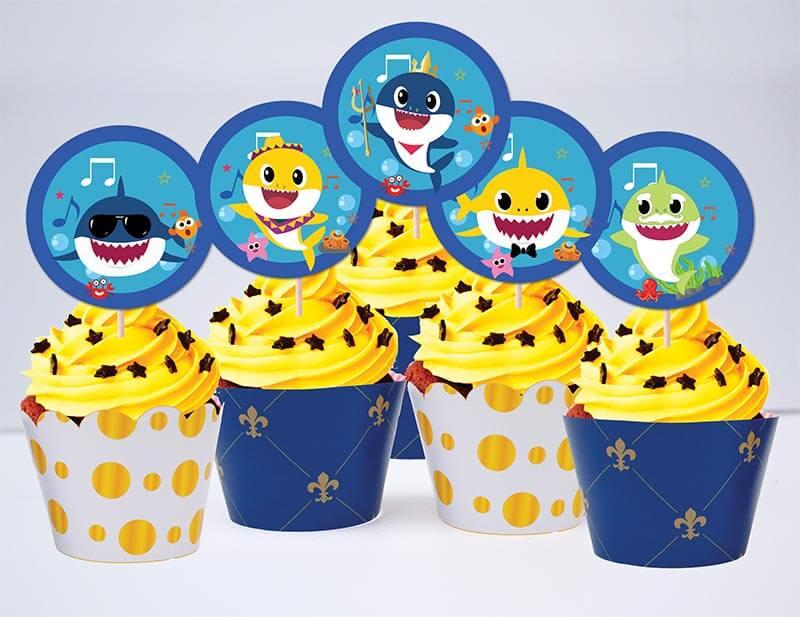Set bánh cupcake sinh nhật Baby Shark boy màu xanh hoàng gia