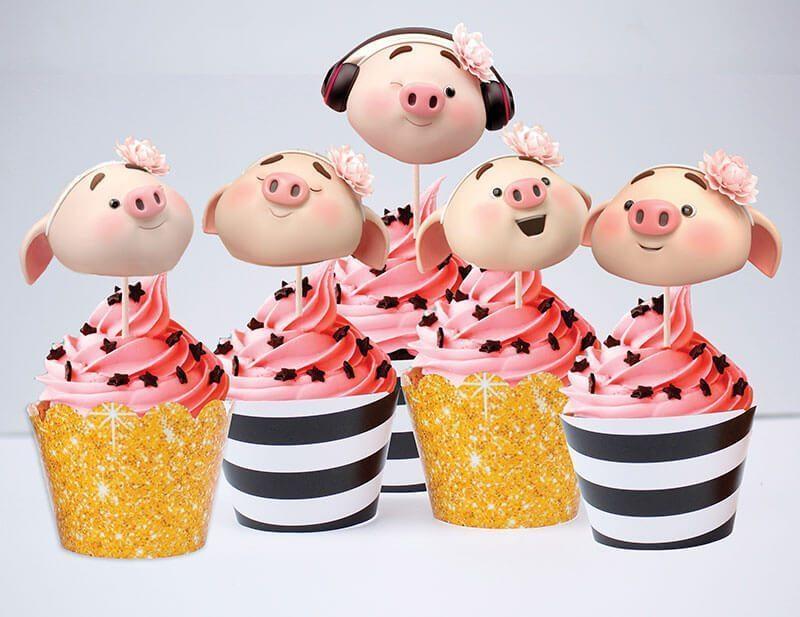 Set bánh cupcake heo gái màu đen kim tuyến