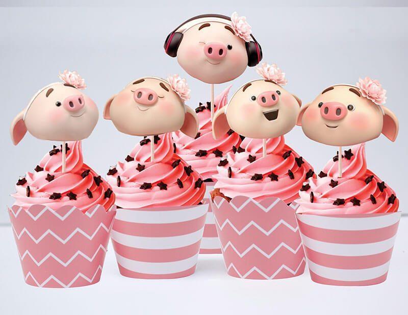 Tem bánh cupcake bé heo gái màu hồng hoàng gia