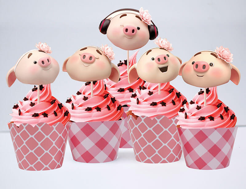 Set bánh cupcake heo gái màu hồng lưới