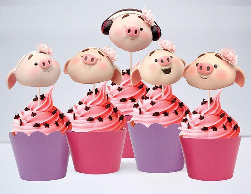 Tem bánh cupcake bé heo gái màu hồng tím
