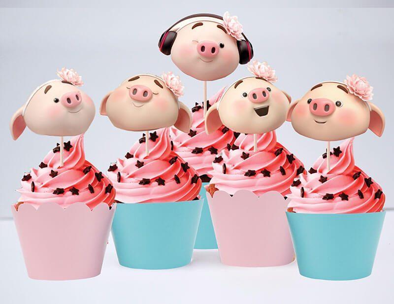 Tem bánh cupcake bé heo gái màu hồng xanh mint
