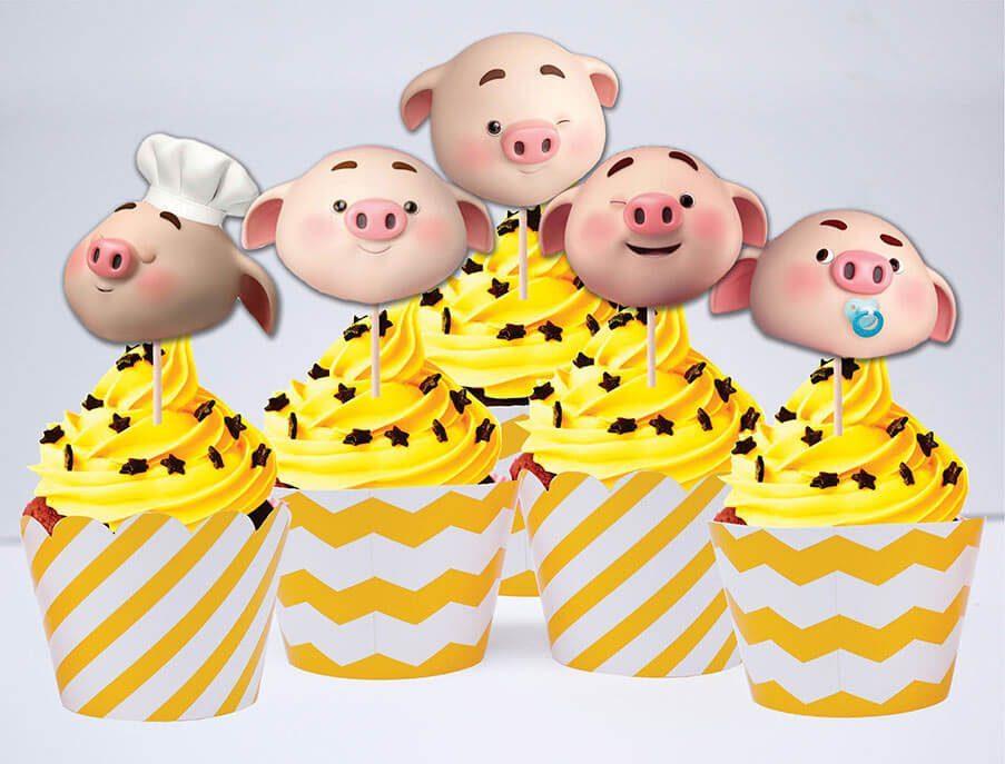 Tem bánh cupcake bé heo trai màu vàng zigzag