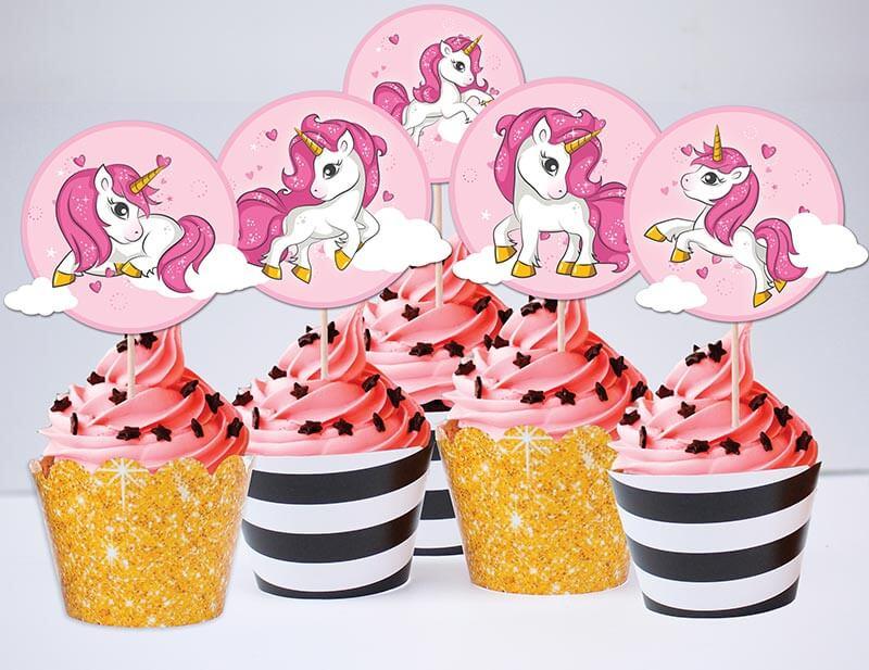 Tem bánh cupcake unicorn girl màu đen kim tuyến