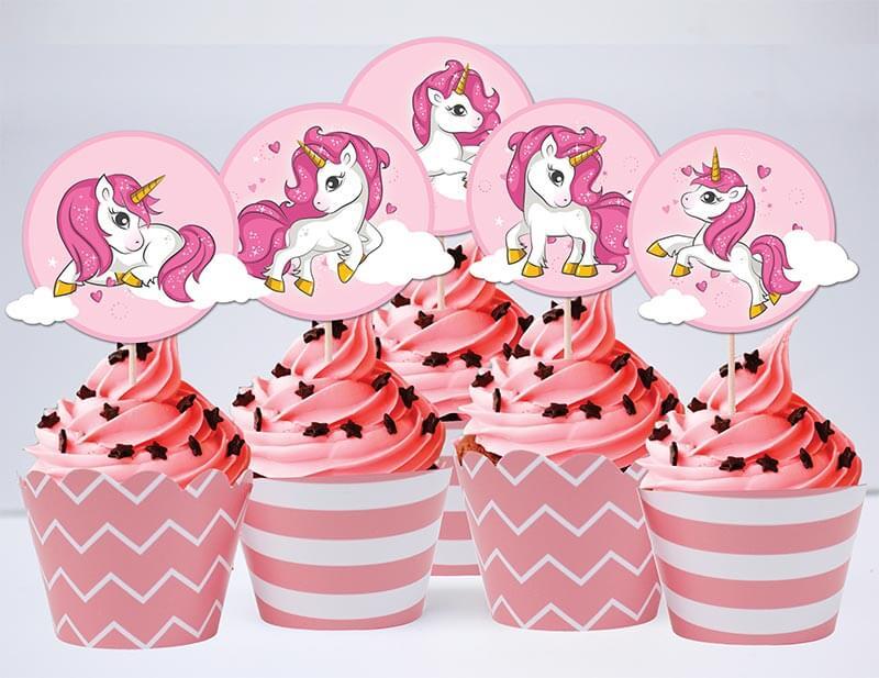 Set bánh cupcake Unicorn Girl màu hồng hoàng gia