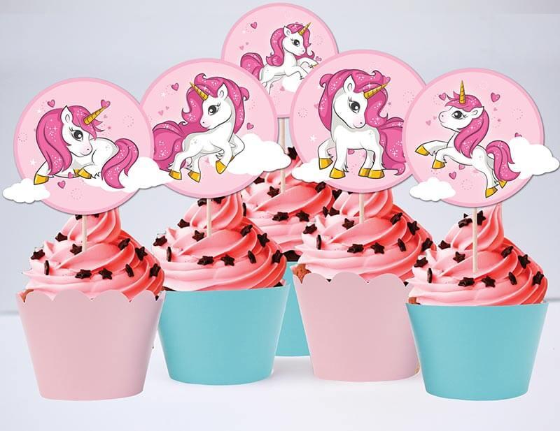 Set bánh cupcake Unicorn Girl màu hồng xanh min