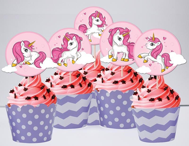 Tem bánh cupcake unicorn girl màu tím chấm bi