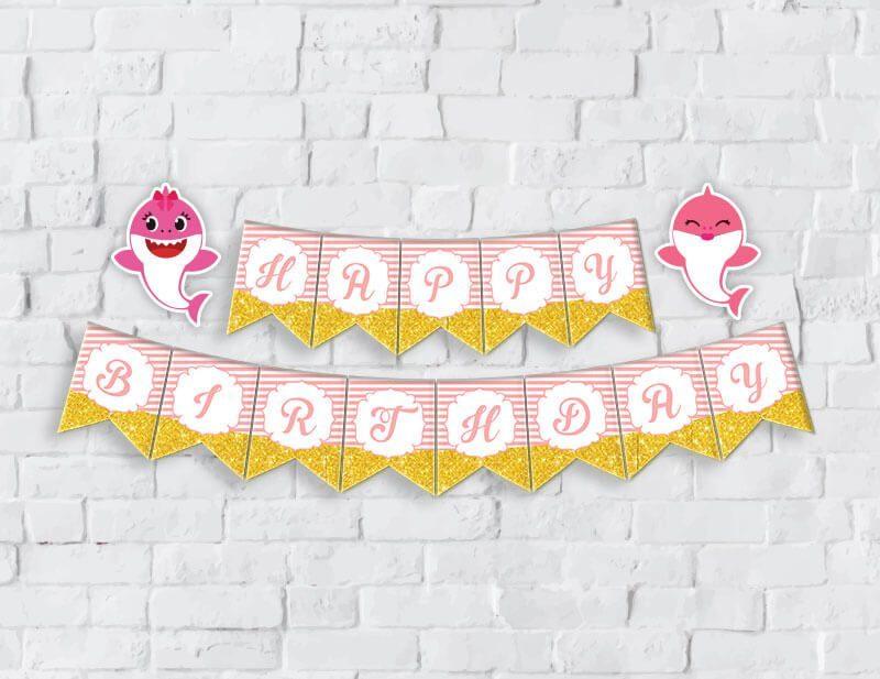 Banner baby shark girl màu hồng hoàng gia