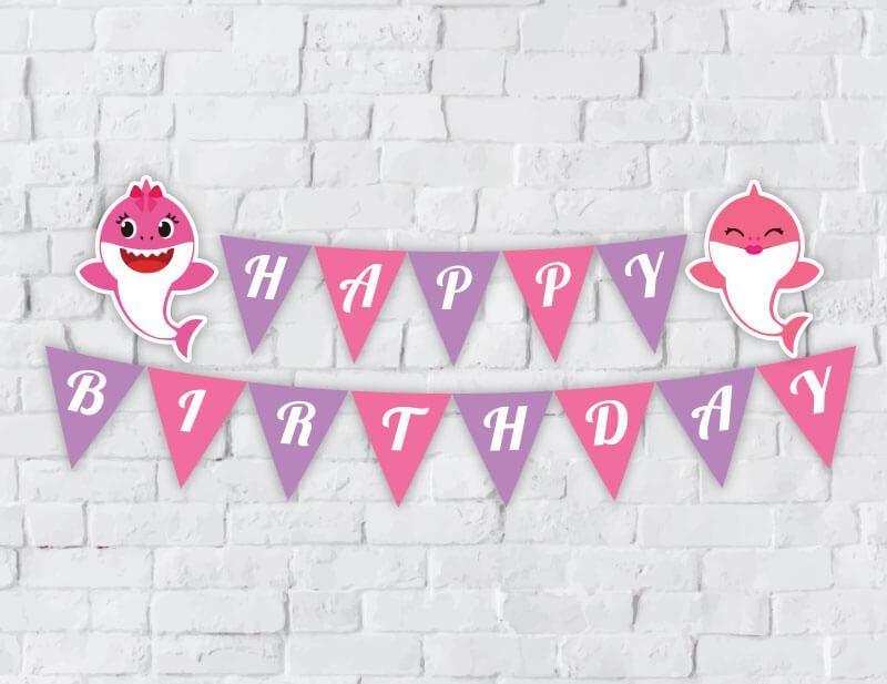 Tem banner babyshark girl màu hồng tím