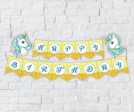 tem banner unicorn boy màu vàng hoàng gia