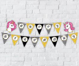 Tem banner unicorn girl màu đen kim tuyến