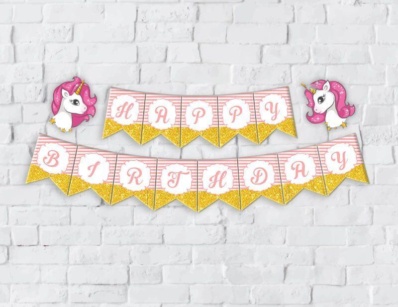 Banner Unicorn Girl màu hồng hoàng gia