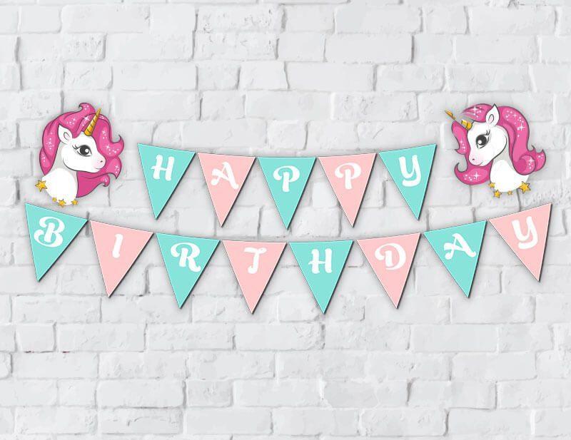 Banner Unicorn Girl màu hồng xanh min