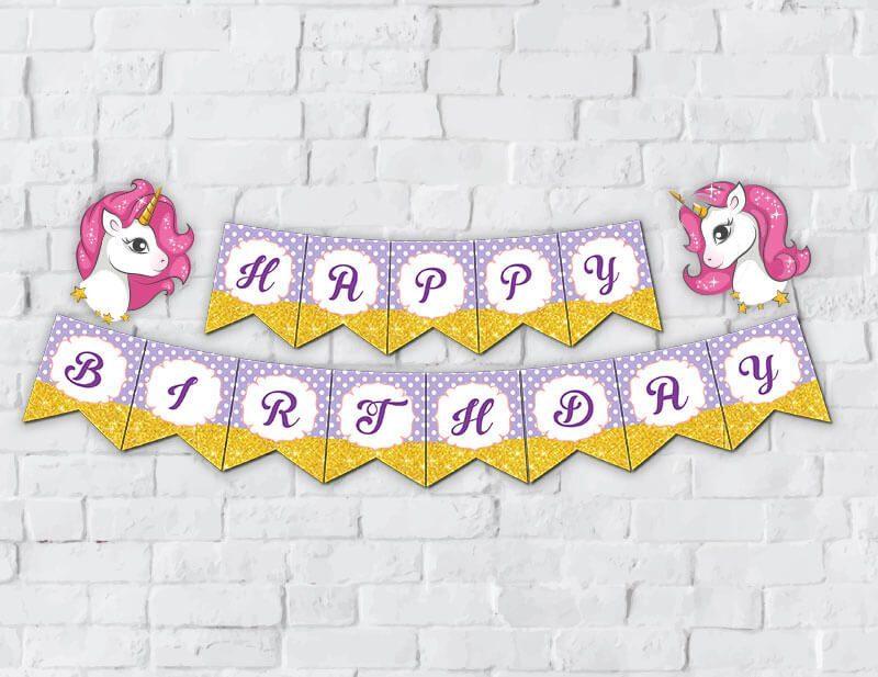 Tem banner unicorn girl màu tím chấm bi