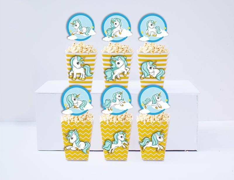 Set bắp rang bơ sinh nhật Unicorn Boy màu vàng zigzag