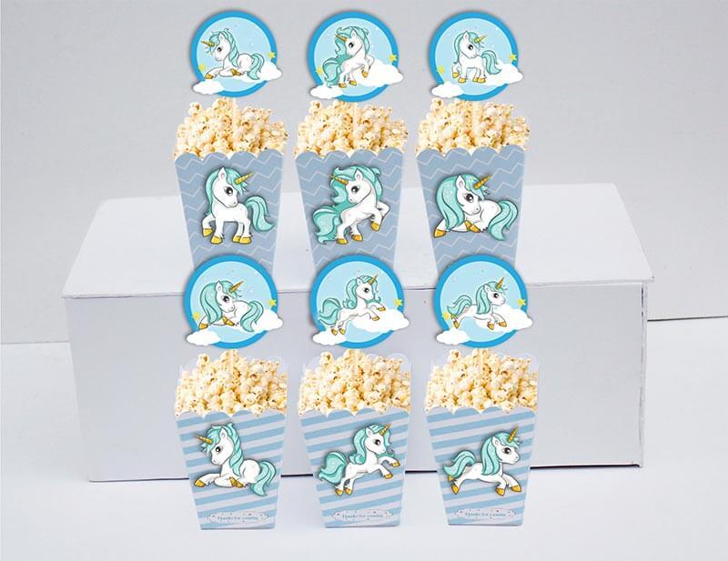 Set bắp rang bơ sinh nhật Unicorn Boy màu xanh da trời