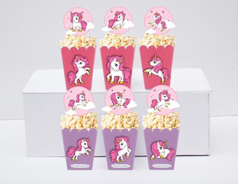 Tem bắp rang bơ unicorn girl màu hồng tím