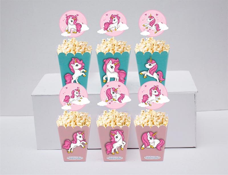 Set bắp rang bơ Unicorn Girl màu hồng xanh min