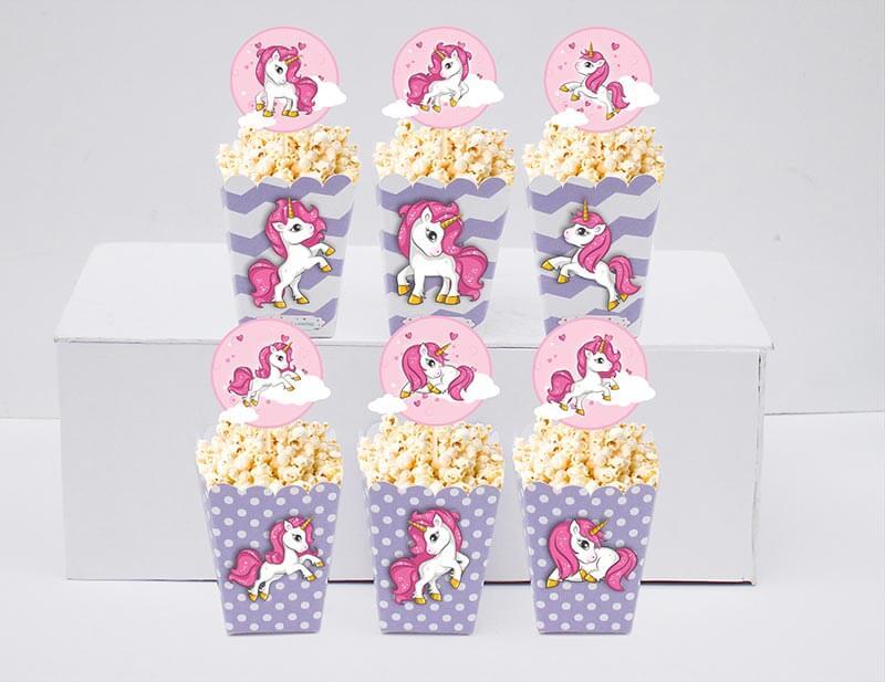 Set bắp rang bơ Unicorn Girl màu tím chấm bi