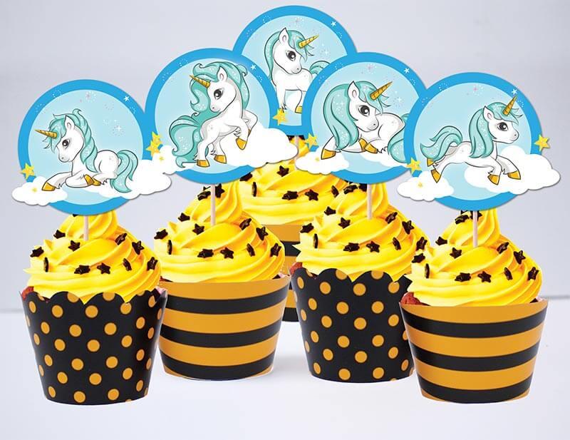 Tem cupcake unicorn boy màu vàng đen