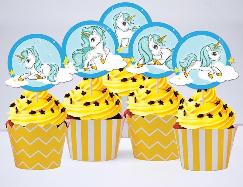 tem cupcake unicorn boy màu vàng hoàng gia