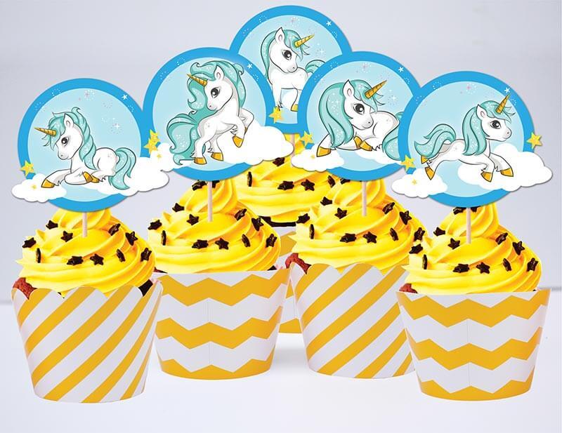 Tem cupcake unicorn boy màu vàng zigzag