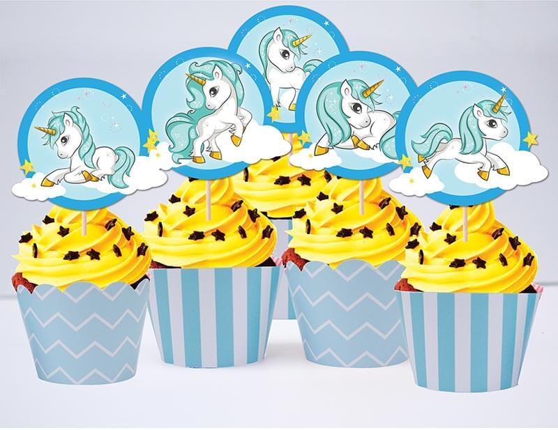 Set cupcake sinh nhật Unicorn Boy màu xanh da trời