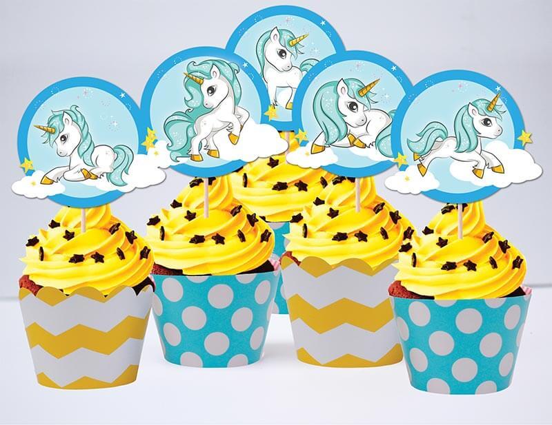 Tem cupcake unicorn boy màu xanh min vàng