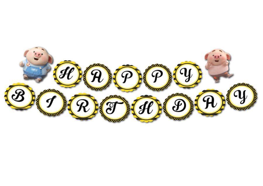 Tem dây chữ Happy Birthday bé heo trai màu vàng đen