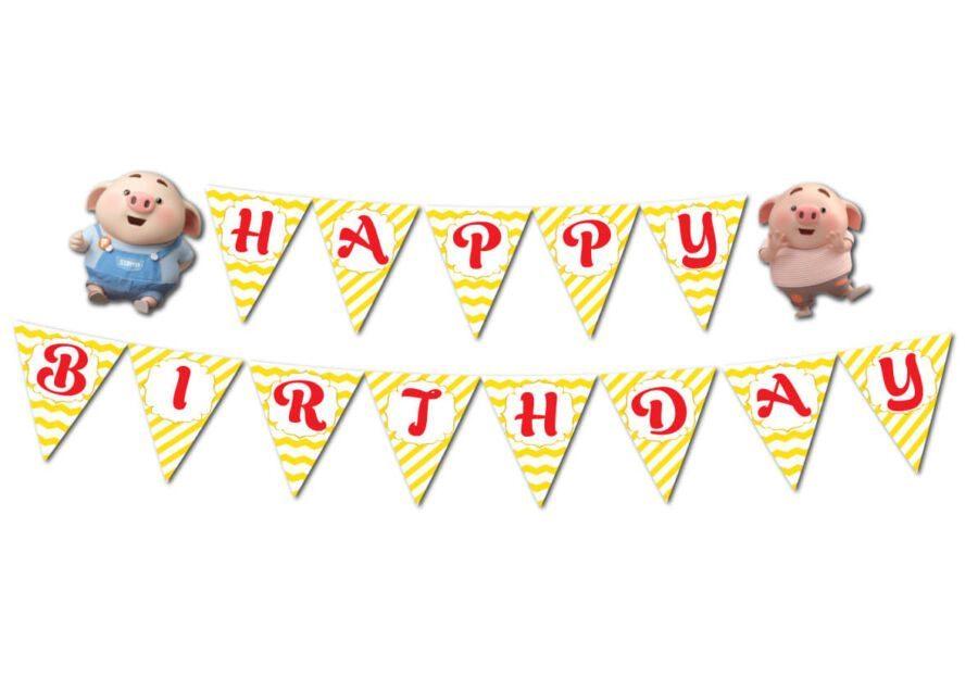 Tem dây chữ Happy Birthday bé heo trai màu vàng zigzag