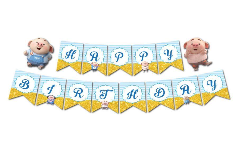 Tem dây chữ Happy Birthday bé heo trai màu xanh da trời