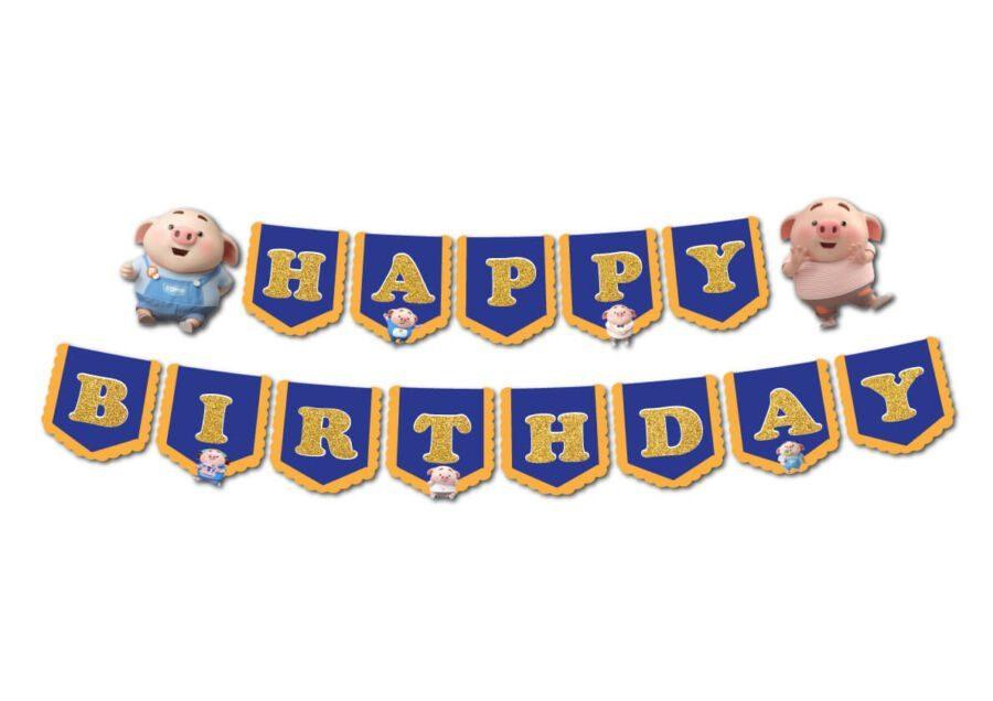 Tem dây chữ Happy Birthday bé heo trai màu xanh hoàng gia