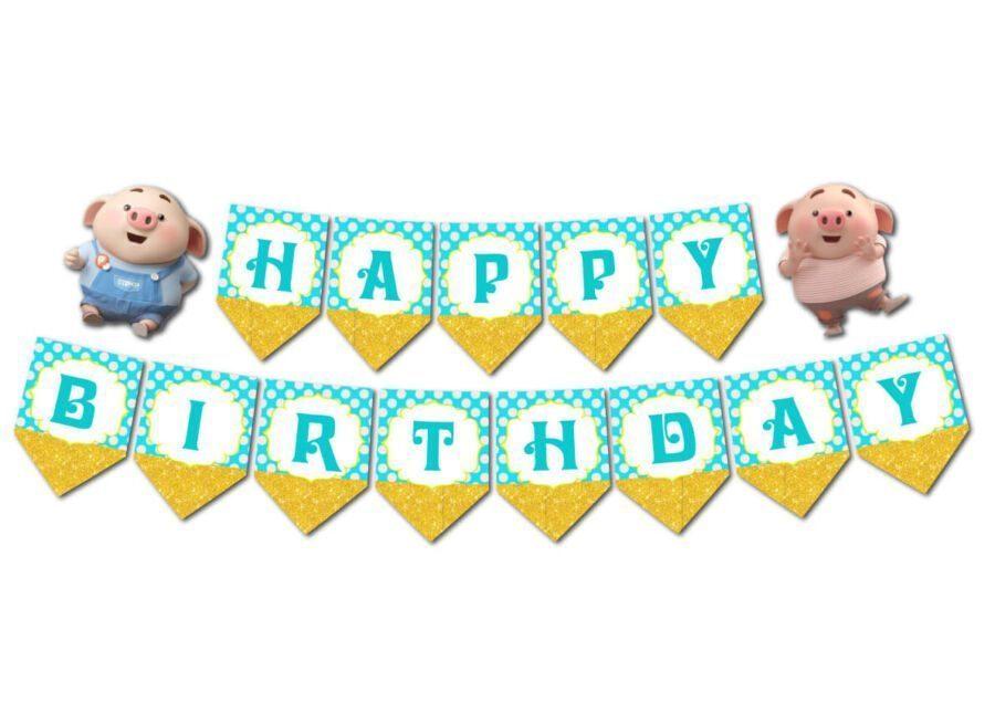 Tem dây chữ Happy Birthday bé heo trai màu xanh min vàng