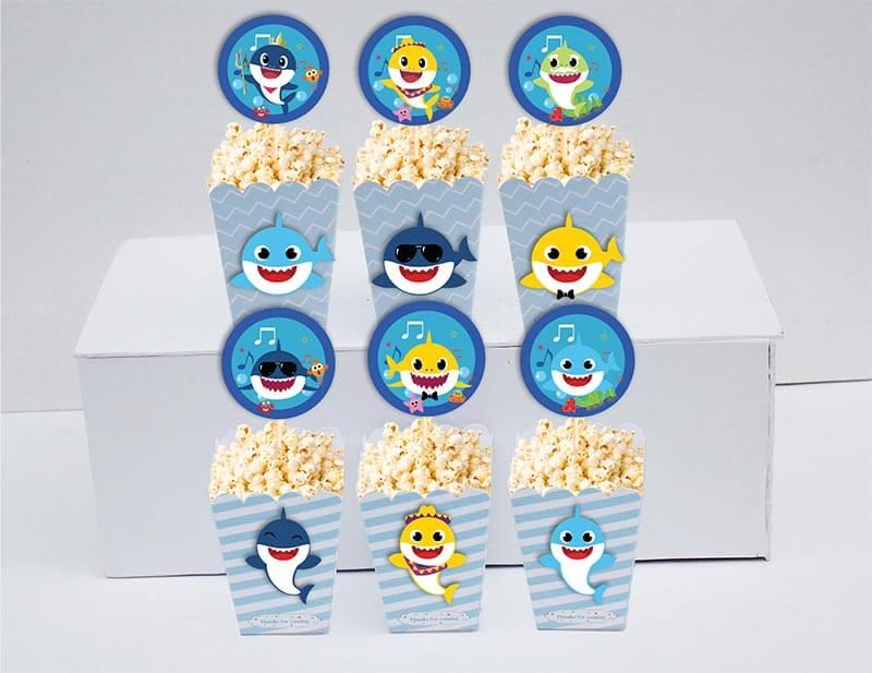 Set bánh cupcake sinh nhật Baby Shark boy màu xanh da trời