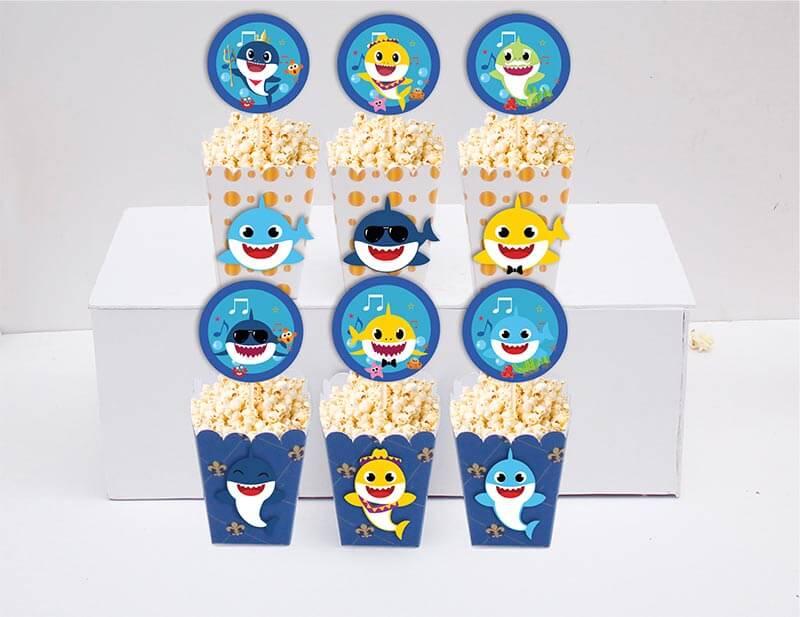 Set hộp bắp sinh nhật Baby Shark boy màu xanh hoàng gia
