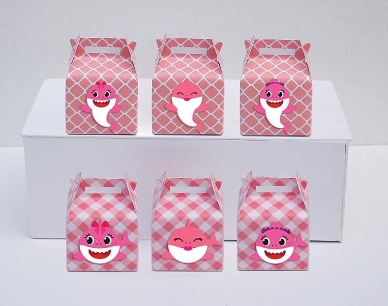 Tem hộp quà sinh nhật Baby Shark Gái màu hồng lưới