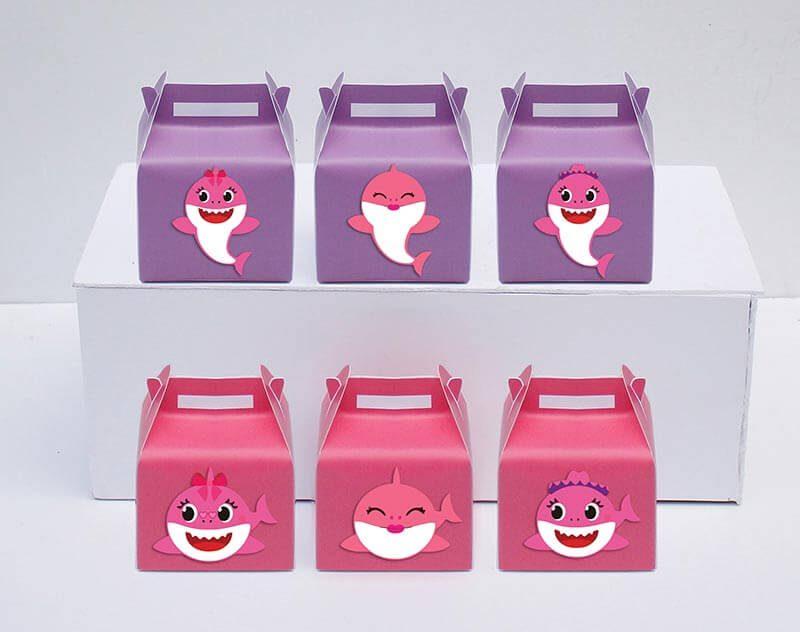 Tem hộp quà sinh nhật Baby Shark Gái màu hồng tím