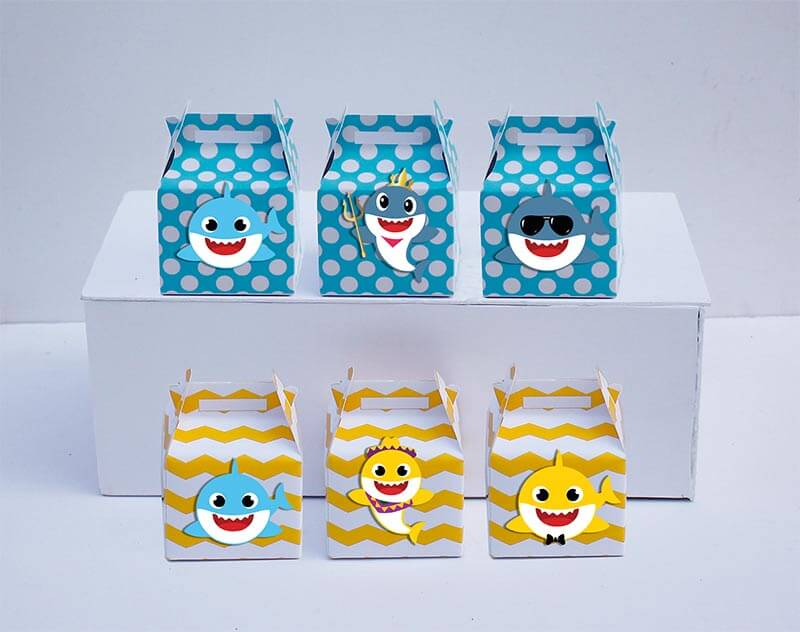 Set hộp quà sinh nhật Baby Shark boy màu vàng xanh min