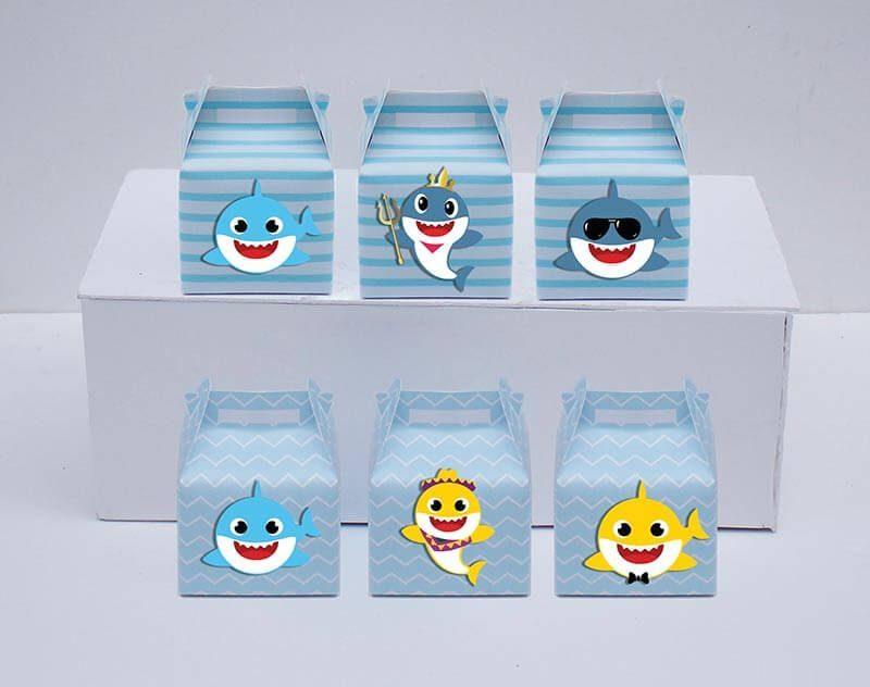 Tem hộp quà sinh nhật Baby Shark Trai màu xanh da trời