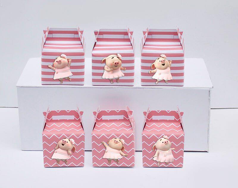 Tem hộp quà sinh nhật bé heo gái màu hồng hoàng gia