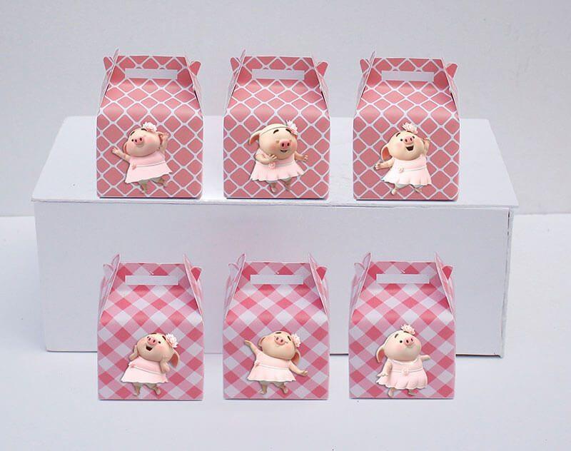 Set hộp quà sinh nhật heo gái màu hồng lưới