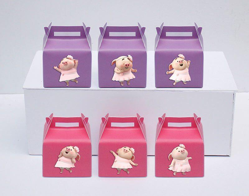 Tem hộp quà sinh nhật bé heo gái màu hồng tím