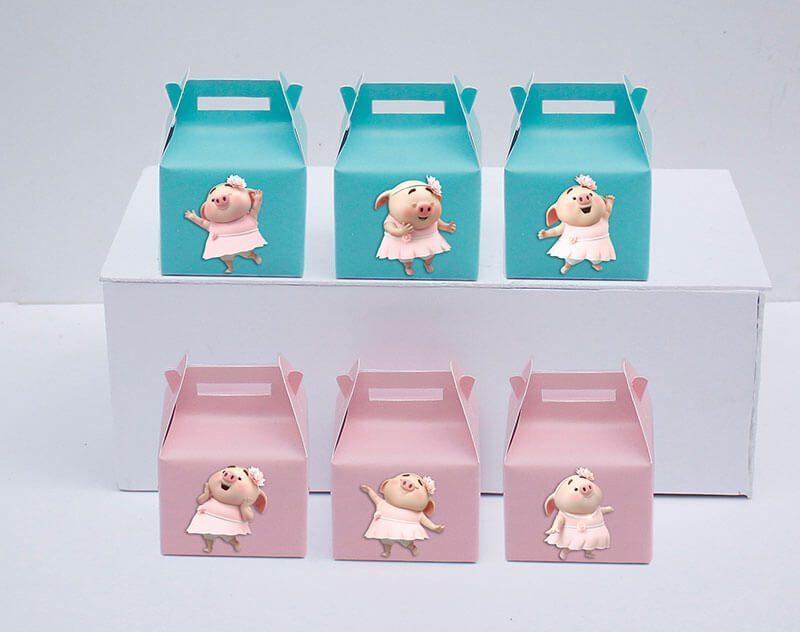 Tem hộp quà sinh nhật bé heo gái màu hồng xanh mint